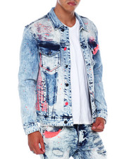 SMOKE RISE - NEON DETAIL DENIM JACKET-2394735