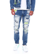 SMOKE RISE - Neon distressed jean-2395027