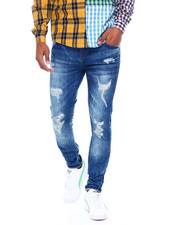 Jeans - MED INDIGO SKINNY FIT STRETCH DISTRESSED JEAN-2395870