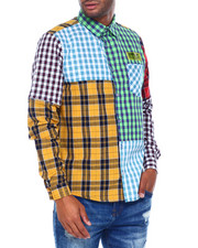 Button-downs - Plaid Long Sleeve Shirt w Patch Detail and Detach Sleeve-2395389