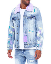 Mens-Fall - Denim jacket w Detachable Faux Fur Collar and Paint-2395683
