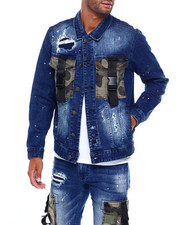 Mens-Fall - Camo Utility Pocket Denim Jacket-2395677