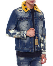 Mens-Fall - Denim jacket w Detachable Faux Fur Collar and Paint-2396486