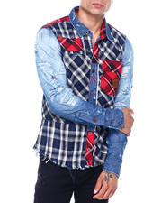 Shirts - PLAID PATCHWORK BUTTONDOWN SHIRT-2396642