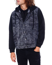 Mens-Fall - Denim Jacket w Fleece Hood-2397268