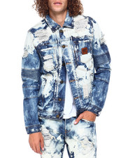 Mens-Fall - Distressed Wolf Patch Denim Jacket-2397483