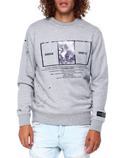 Mens-Fall - Distressed Wolf Crew Sweatshirt-2397443