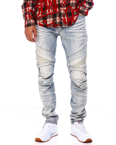 SMOKE RISE - Seamed Moto Slim Fit Jean