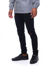 Mens-Fall - RIPPED PAINT SPLATTER SKINNY STRETCH JEAN-2399497