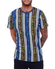 Shirts - VERTICAL STRIPE TEE W ANIMAL PRINT MOTIF-2398602
