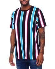 Shirts - BOLD STRIPE TEE -BLACK MAGENTA TURQ-2398582
