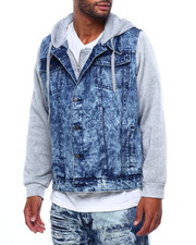 Mens-Fall - Denim Jacket w Fleece Hood-2399594