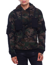 Mens-Fall - Utility Pocket Shoulder Strap Hoodie-2399490