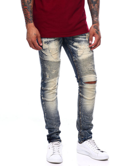 Heritage America - DISTRESSED DIRTY RINSE MOTO JEAN