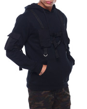 Mens-Fall - Utility Pocket Shoulder Strap Hoodie-2399441