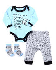 Boys - 3 PC Slogan Pant Sets (Creepers/Socks/Pant)(NEWBORN)-2399214