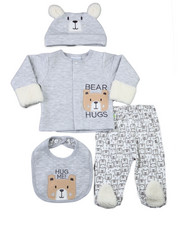 Boys - 4 PCS Quilted Jacket Set (Jckt, Hat, Bib, Interlock Pant)(NEWBORN)-2399240