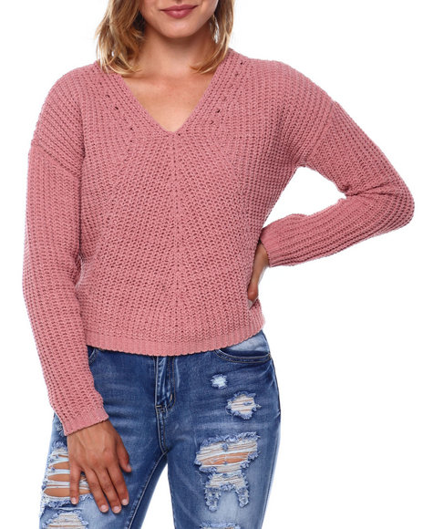 Almost Famous - Double V L/S Chenille Pullover