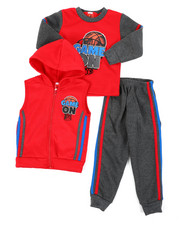 Boys - 3Pc Puff Printed Fleece Vest Set (2T-4T)-2397920