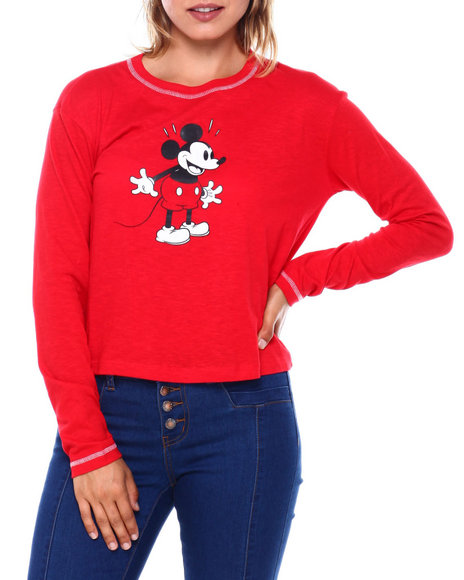Graphix Gallery - Mickey Contrast Stitch Skimmer Long Sleeve Tee