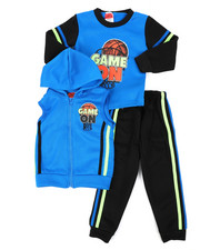 Boys - 3Pc Puff Printed Fleece Vest Set (2T-4T)-2398869