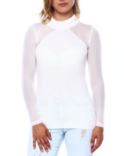 Almost Famous - Rib Mock Neck Mesh Slv Top-2397048