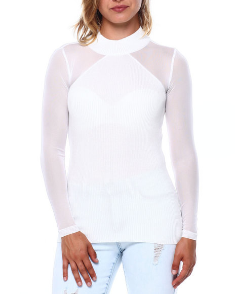 Almost Famous - Rib Mock Neck Mesh Slv Top