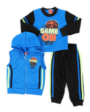 Boys - 3Pc Puff Printed Fleece Vest Set (Infant)-2397924