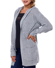 Sweaters - Shaker Stitch Hoodie Cardigan-2396121