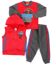 Boys - 3Pc Puff Printed Fleece Vest Set (Infant)-2397916