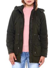 Fashion Lab - Cotton Drawstring Waist Hooded Jacket-2400892