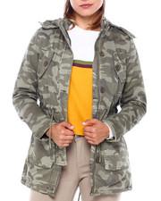Fashion Lab - Cotton Drawstring Waist Hooded Jacket-2400897