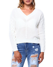 Almost Famous - Shaker Stitch V Neck Hilo Sweater W/ Lace Up Slv-2396083