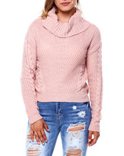 Almost Famous - Mixed Pointelle Shaker Stitch L/S Sweater-2396060