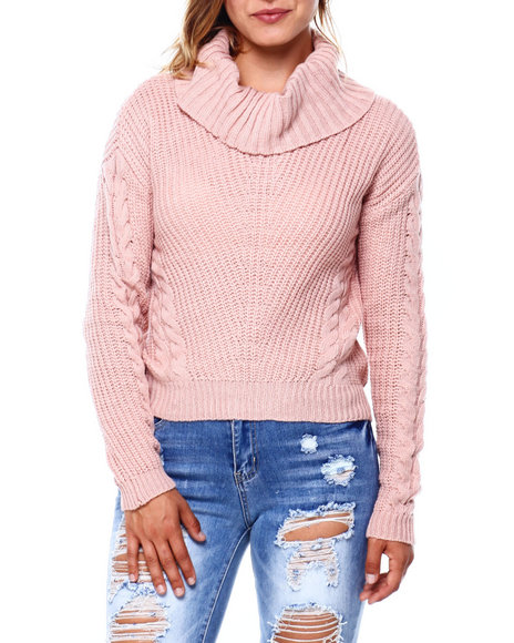 Almost Famous - Mixed Pointelle Shaker Stitch L/S Sweater