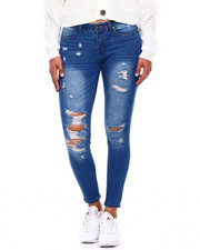 Women - Destructed Mid Rise Push Up 5 Pkt Skinny Jean-2396331