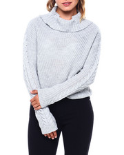 Almost Famous - Mixed Pointelle Shaker Stitch L/S Sweater-2397013