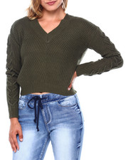 Almost Famous - Shaker Stitch V Neck Hilo Sweater W/ Lace Up Slv-2397028