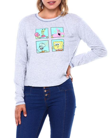 Graphix Gallery - SpongeBob SquarePants Contrast Stitch Skimmer Long Sleeve Tee