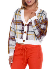 Almost Famous - V Neck Button Frt Plaid Crop Cardigan-2395955
