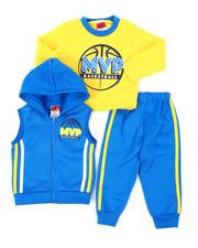 Infant & Newborn - 3Pc Puff Printed Fleece Vest Set (Infant)-2397904