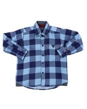 Tops - Chambray Buffalo Plaid Woven Shirt (2T-4T)-2400485