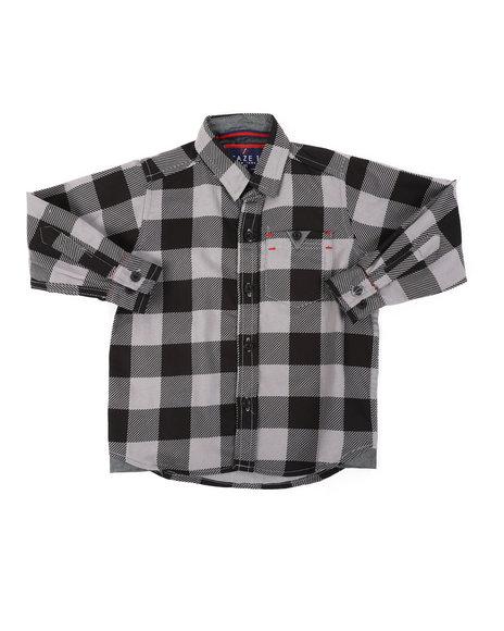 Arcade Styles - Chambray Buffalo Plaid Woven Shirt (2T-4T)