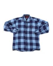 Tops - Chambray Buffalo Plaid Woven Shirt (4-7)-2400489