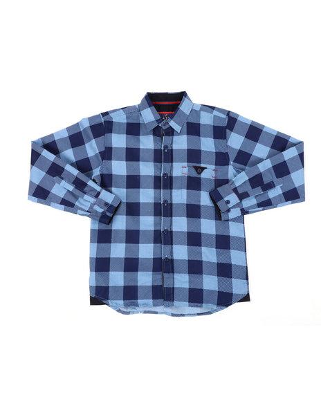 Arcade Styles - Chambray Buffalo Plaid Woven Shirt (8-18)