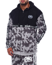 Outerwear - Spray Camo Printed Tape Color Block FZ Hoodie (B&T)-2402096