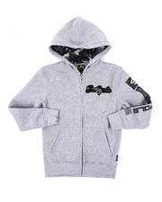 Hoodies - Full Zip Fleece Hoodie W/ Camo Chenille Patch (8-20)-2401609
