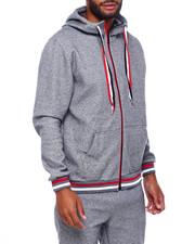 Outerwear - Heathered zip Hoody w Stripe Band-2402529