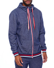 Outerwear - Heathered zip Hoody w Stripe Band-2402542