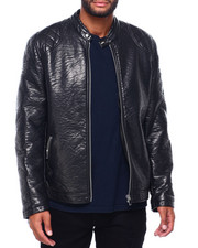 Leather Jackets - PU MOTO JACKET WITH QUILTED SHOULDER DETAIL BY ROBERT PHILLIPE-2402818